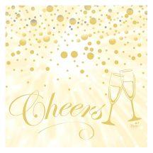 Duni szilveszteri papírszalvéta 3 rétegű 33x33 cm, Best Wishes Cream