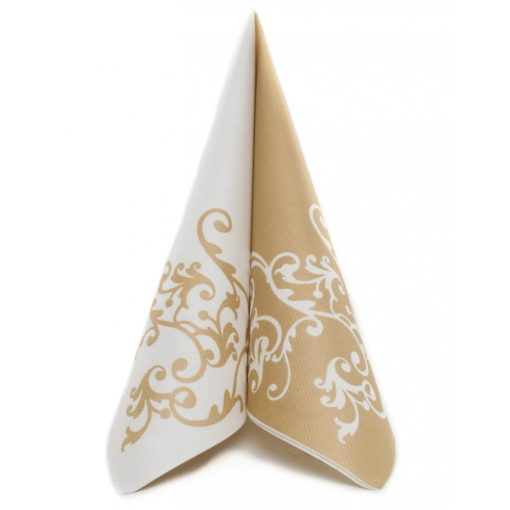 Mank textilhatású szalvéta Pomp arany és fehér