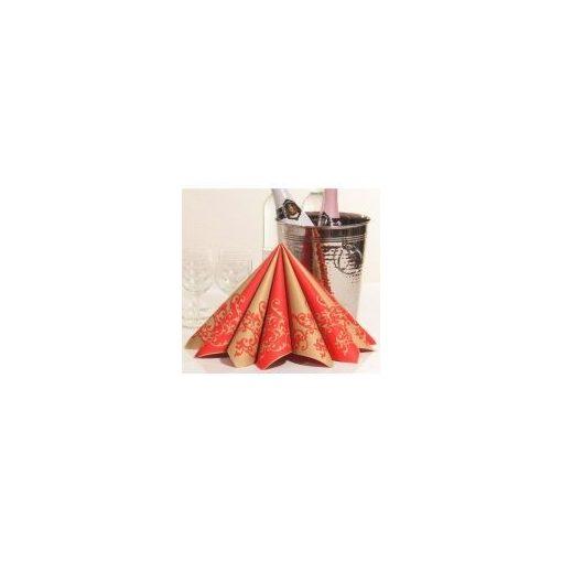 Mank textilhatású szalvéta Pomp arany/ piros